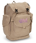 Phi Mu LARGE Canvas Backpack Tan