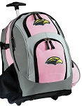 Southern Miss Rolling Backpack Pink