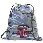 Texas A&M Drawstring Backpack Blue Camo