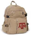 Texas A&M Canvas Backpack Tan