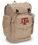Texas A&M LARGE Canvas Backpack Tan