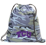 TCU Drawstring Backpack Blue Camo