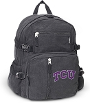 TCU Texas Christian Canvas Backpack Black