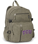 TCU Texas Christian Canvas Backpack Olive