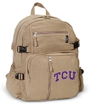 TCU Texas Christian Canvas Backpack Tan