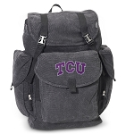 TCU Texas Christian LARGE Canvas Backpack Black