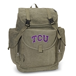 TCU Texas Christian LARGE Canvas Backpack Olive