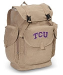 TCU Texas Christian LARGE Canvas Backpack Tan