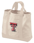 Texas Tech Tote Bags NATURAL CANVAS