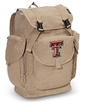 Texas Tech LARGE Canvas Backpack Tan