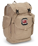 University of South Carolina LARGE Canvas Backpack Tan