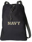 Naval Academy Drawstring Bag SOFT COTTON USNA Navy Backpacks Black