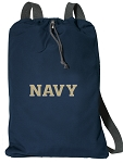 Naval Academy Drawstring Bag SOFT COTTON USNA Navy Backpacks Navy