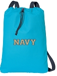 Naval Academy Drawstring Bag SOFT COTTON USNA Navy Backpacks Aqua