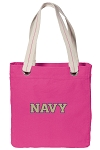 USNA Navy Tote Bag RICH COTTON CANVAS Pink