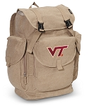 Virginia Tech LARGE Canvas Backpack Tan