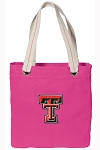 Texas Tech University NEON PINK Cotton Tote Bag