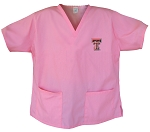 Texas Tech University Pink Scrubs Tops SHIRT