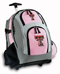 Texas Tech University Rolling Backpack Deluxe Pink