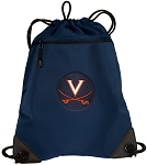UVA University of Virginia Drawstring Backpack-MESH & MICROFIBER Navy
