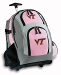 Virginia Tech Rolling Backpack Pink