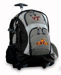 Virginia Tech Peace Frog Rolling Backpack Black Gray