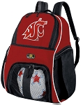 Washington State Soccer Ball Backpack Bag Red