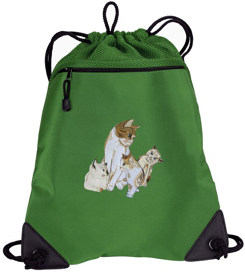 Cute Cats Drawstring Backpack Mesh and Microfiber