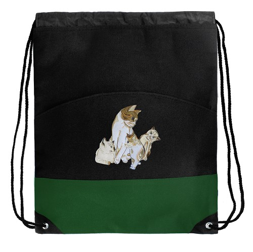 Cute Cats Drawstring Backpack Bags Green