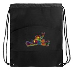 Peace Frogs Drawstring Bag Cinch