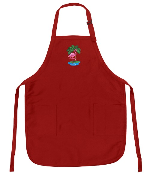 Deluxe Flamingos Apron Red