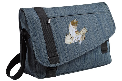Cute Cats Messenger Laptop Bag Stylish Navy