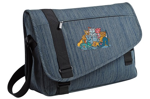 Crazy Cat Messenger Laptop Bag Stylish Navy