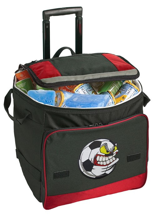 Soccer Fan Rolling Cooler Bag Red