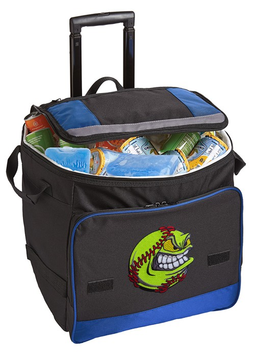 Rolling Softball Cooler Bag Blue
