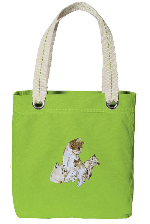 Cute Cats Tote Bag RICH COTTON CANVAS Green