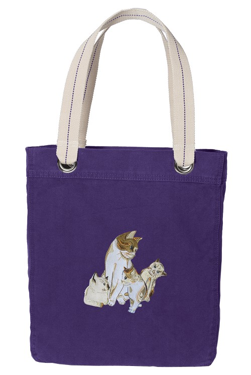 Cute Cats Tote Bag RICH COTTON CANVAS Purple