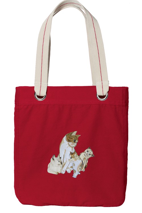 Cute Cats Tote Bag RICH COTTON CANVAS Red