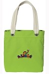 Peace Frogs NEON Green Cotton Tote Bag