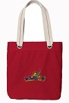 Peace Frogs Red Cotton Tote Bag