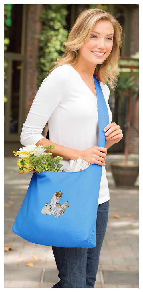Cute Cats Tote Bag Sling Style Turquoise