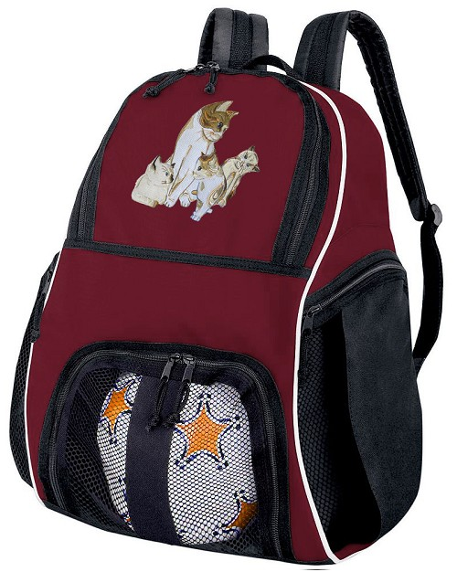 Cute Cats Soccer Ball Backpack Bag Maroon