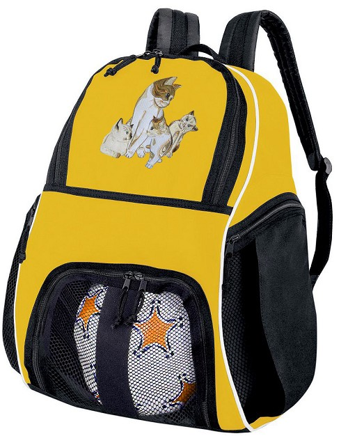 Cute Cats Soccer Ball Backpack Bag Yellow