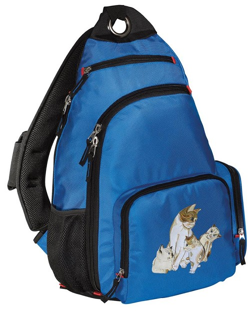 Cute Cats Sling Backpack Blue