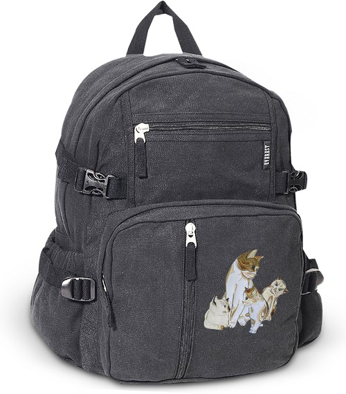 Cute Cats Canvas Backpack Black