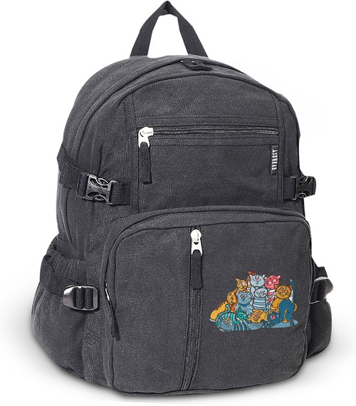 Crazy Cat Canvas Backpack Black