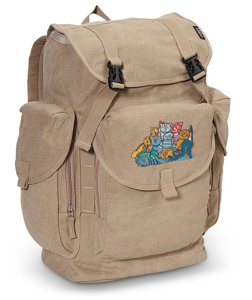 Crazy Cat LARGE Canvas Backpack Tan