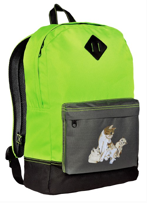 Cute Cats Backpack Classic Style Fashion Green