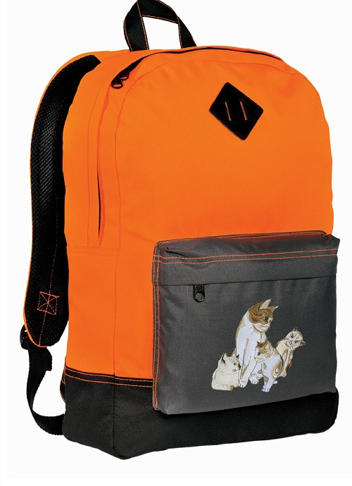 Cute Cats Backpack Classic Style Cool Orange