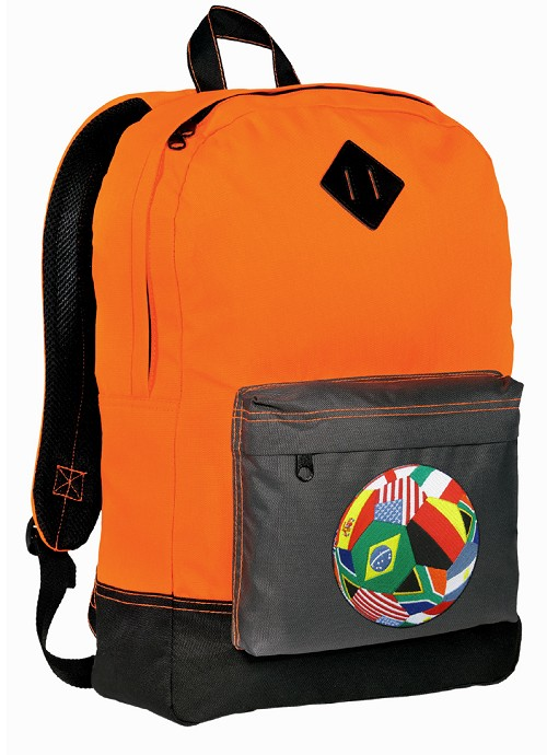 Soccer Backpack HI VISIBILITY Orange CLASSIC STYLE